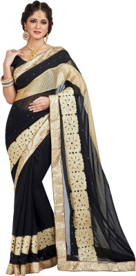 Hitansh Fashion Embroidered Fashion Georgette Saree(Black) at flipkart