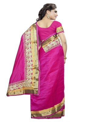 Aditya Creation Embriodered, Self Design, Solid Bhagalpuri Cotton Sari