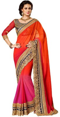 AKSH FASHION Embriodered Bollywood Pure Georgette Sari