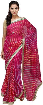 KALYANAM Striped Leheria Chiffon Sari