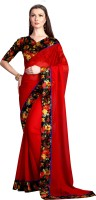 Glory Sarees Embellished Bollywood Georgette Sari(Red)