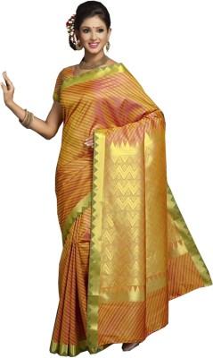 IVAANA Striped Kanjivaram Art Silk Sari