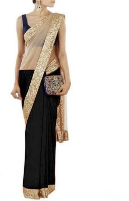 Fashionatics Plain Fashion Georgette Sari