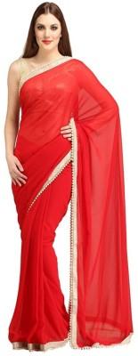 Abhinav Fashion Solid Fashion Georgette Sari