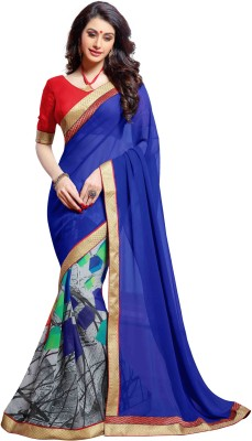KL COLLECTION Plain, Printed Fashion Georgette Sari