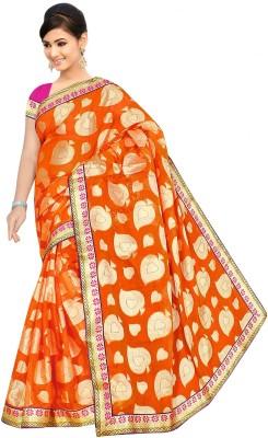 Chirag Sarees Self Design Banarasi Cotton Sari(Orange)