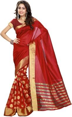 Heavendeal Striped Banarasi Silk Cotton Blend Sari