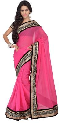 Anju Sarees Plain, Self Design, Embriodered Bollywood Synthetic Chiffon Sari