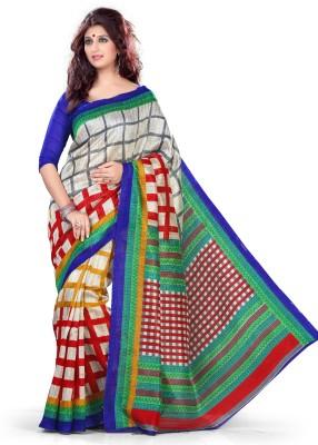 EthnicQueen Checkered Fashion Art Silk Sari