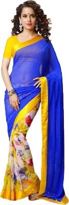VINCITORE Plain Bollywood Georgette Sari