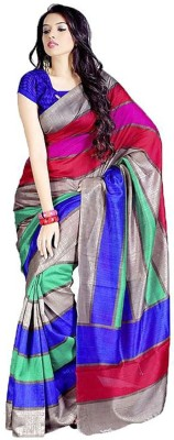 ASN Striped Bhagalpuri Cotton Linen Blend Sari