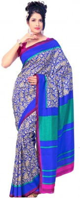 Ethnic Andaaz Floral Print, Chevron Fashion Art Silk, Cotton Sari