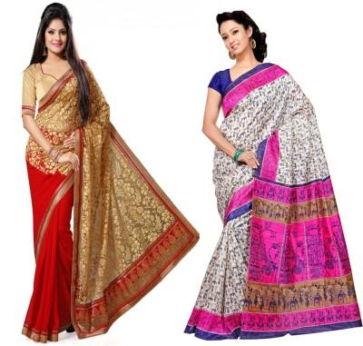 Indian E Fashion Embriodered, Printed, Animal Print Fashion Brasso, Cotton Sari