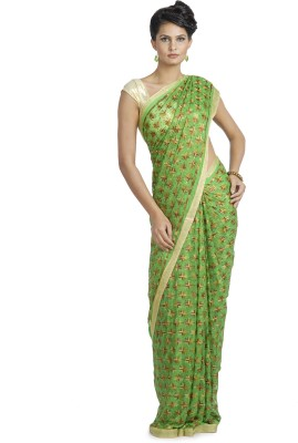 Ethnic Bliss Lifestyles Embriodered Phulkari Handloom Chiffon Sari