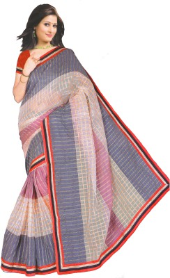 Essemm Checkered Fashion Silk Linen Blend Sari
