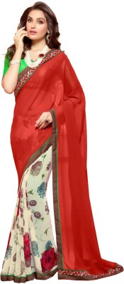 KL COLLECTION Floral Print, Plain Bollywood Georgette Sari