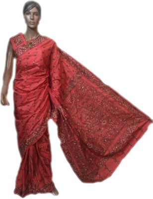 VanshikasCollections Embriodered Katha Silk Sari