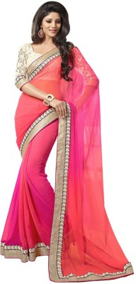 Wowcreation Solid Fashion Handloom Chiffon Sari
