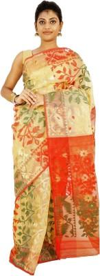 Ethnica Self Design Jamdani Handloom Cotton Saree(Multicolor) at flipkart