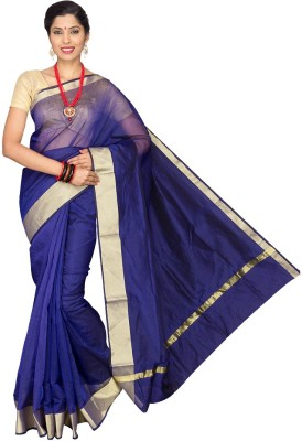 Pavechas Solid Banarasi Cotton, Silk Saree(Dark Blue) at flipkart