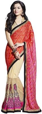 Ashish Embellished Bandhej Net, Poly Silk Sari