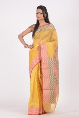 Ujala Silk Floral Print Banarasi Cotton, Art Silk Sari