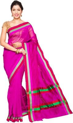 Pavechas Solid Banarasi Silk Saree(Pink) at flipkart