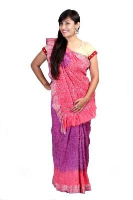 Kajci Solid Bandhani Silk Sari