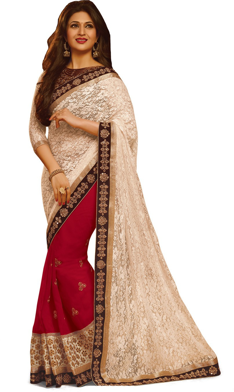 Indianbeauty Self Design, Embroidered Bollywood Jacquard, Pure Georgette Saree(White, Red)