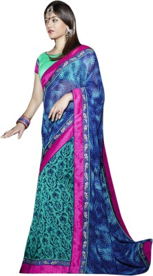 Viva N Diva Solid Fashion Georgette Saree(Blue) at flipkart