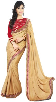 TriveniCreation Embriodered Bollywood Synthetic Crepe Sari