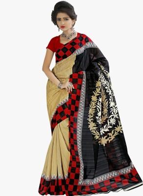 The Designer House Printed, Checkered Fashion Art Silk Sari