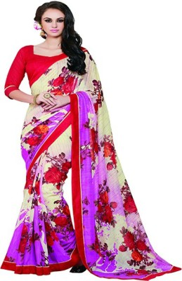 Jambudi Creation Floral Print Fashion Silk Cotton Blend Sari