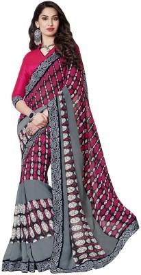 Resham Fabrics Polka Print, Solid Fashion Satin, Georgette Sari