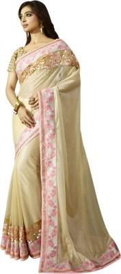 Chirag Sarees Embellished Bollywood Georgette Sari(Beige)