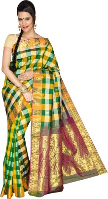 Anju Sarees Checkered Kanjivaram Handloom Pure Silk Sari