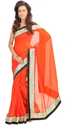 Stylo Designer Self Design, Solid Fashion Georgette Sari