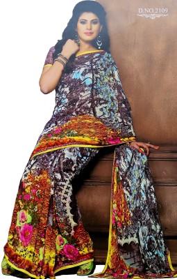 Diva's Floral Print Fashion Synthetic Sari