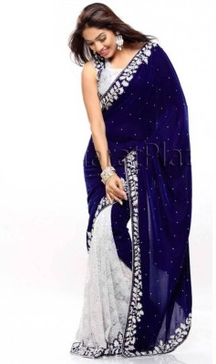 nupur fashion Embriodered Bollywood Georgette, Velvet Sari