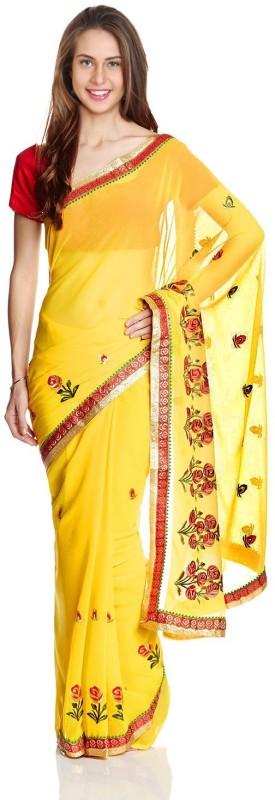 Aryahi Embroidered Fashion Chiffon Saree(Yellow)