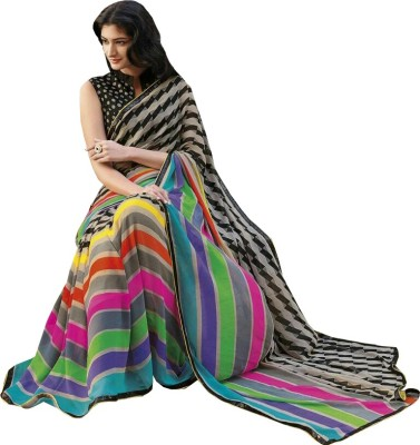 Prabha Creation Printed, Self Design, Striped Fashion Georgette Sari