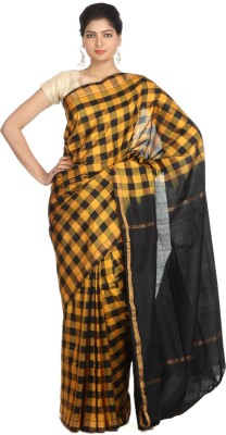 Indian Artizans Checkered Jamdani Handloom Pure Silk Sari