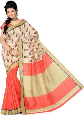 Click Floral Print Bollywood Art Silk Sari