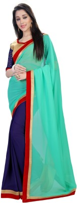 sivermoonfashion Plain Fashion Satin Sari