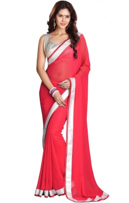 Silkcity Solid Fashion Georgette Sari