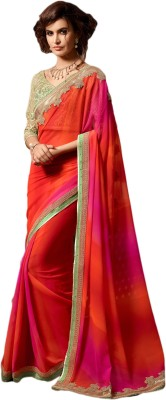 M.S.Retail Embroidered Bollywood Georgette Saree(Orange) at flipkart