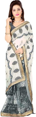 Jiya Self Design, Embriodered Fashion Georgette Sari