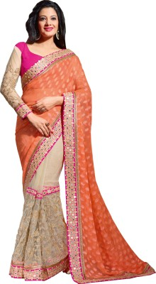 Queenbee Embellished, Embriodered, Self Design Fashion Brasso, Net Sari