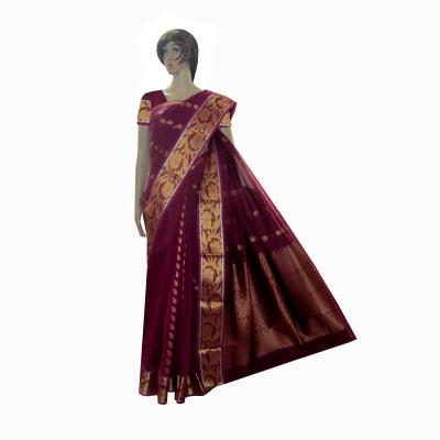 Aaranya Woven, Self Design Bollywood Silk Cotton Blend, Jacquard Sari