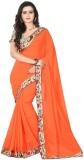 Raag Solid Fashion Chiffon Saree (Orange...
